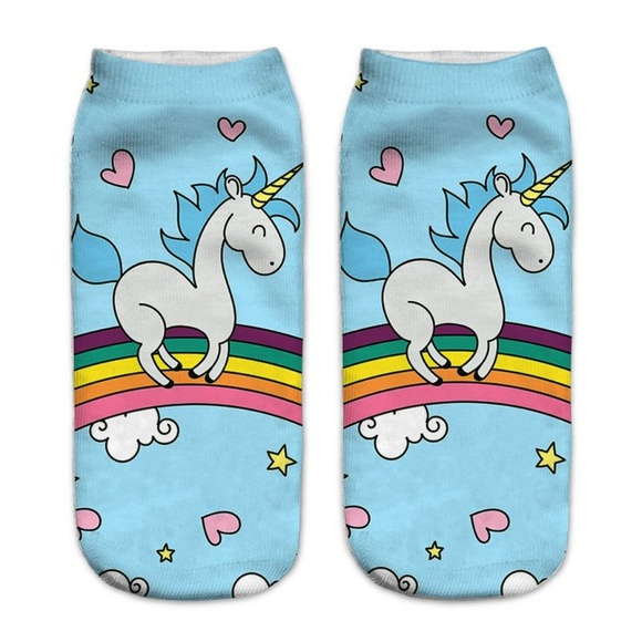 Accessories - Unicorn Rainbow with Stars & Hearts Socks